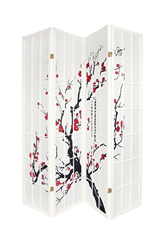 - Legacy Decor 4-Panel Blossom Screen Room Divider, White