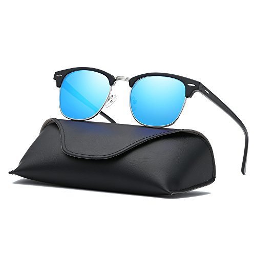 Ray Parker Classic Clubmaster Horn Rimmed Semi Rimless with Polarized Lenses for Men Sunglasses RP6623 with Black Frame/Blue - Clubmaster Sunglasses Blue