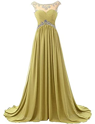 Lisa 2017 Rhinestone Scoop Bridesmaid Dress Long Chiffon Beaded Prom Evening Gown