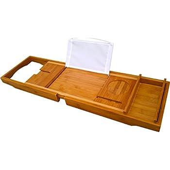 Amazon.com: Bamboo Bath Tray Book Holder - Bathroom Bathtub Bath ...