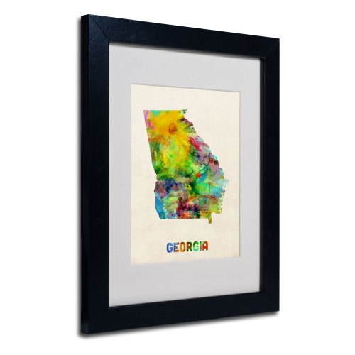 Trademark Fine Art Georgia Map Matted Framed Art by Michael Tompsett in Black Frame, 11 by ()