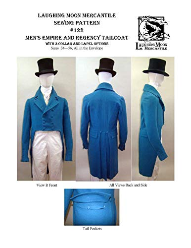 Sewing Pattern - 1806-1820 Men's Regency Tailcoat with Collar Notch and Lapel Options