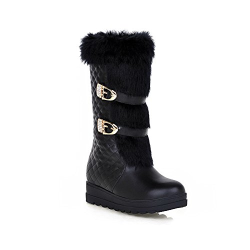 Heighten Inside Soft Ornament Metal Black Material Womens Fur A amp;N Ornament Boots T4aUqaY6w