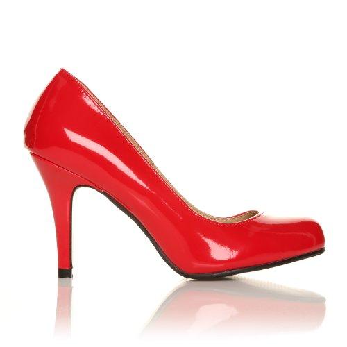 Pearl Rote Lackleder Stiletto Pumps Mit Klassischem Absatz Kunstleder Rotes Lackleder