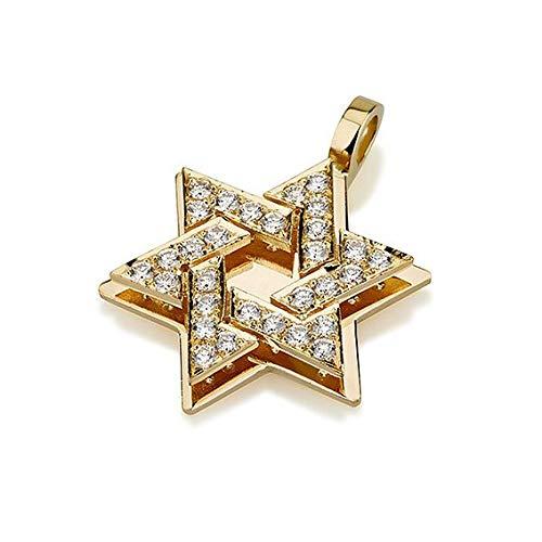 - Baltinester Jewish Jewelry Solid 18k Gold Diamond Studded Star of David Necklace Pendant