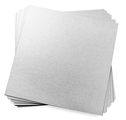 - 5 1/4 Square Silver Metallic Flat Invitation Card, Stardream 105lb, 25 pack