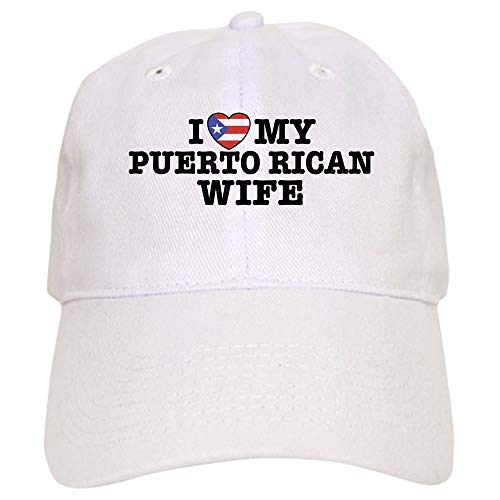 (CafePress I Love My Puerto Rican Wife Baseball Cap with Adjustable Closure, Unique Printed Baseball Hat White)