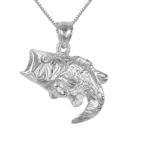 Sterling Silver Bass Fish Charm / Pendant, Made in USA, 18