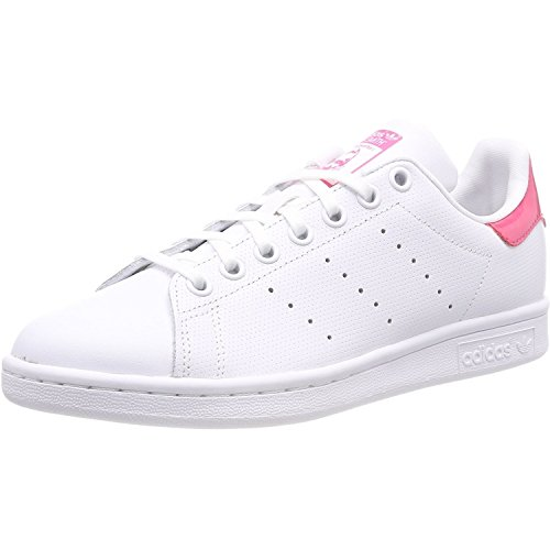 Price comparison product image adidas Youth Stan Smith White Real Pink Leather Trainers 3.5 US