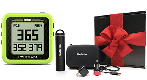Bushnell Phantom (Yellow) Gift Box Bundle | with PlayBetter Portable Charger, USB Car/Wall Adapters & Hard Protective Case | Handheld Golf GPS, Built-in Golf Cart Mount Magnet | Black Gift Box