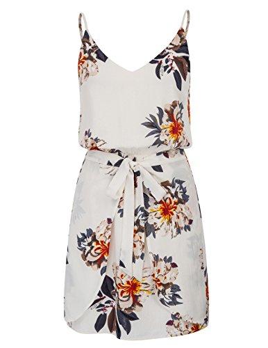Women's Floral Spaghetti Strap V Neck Dress Summer Mini Dress Size M White (Grace Mini Dress)