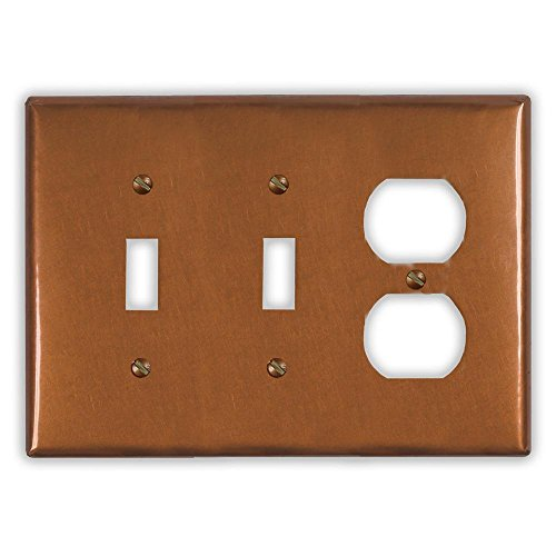 Antique Copper 2 Toggle / 1 Duplex Wallplate by Copper Ventures