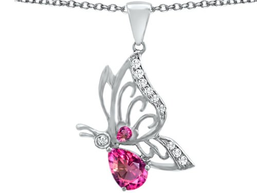 Star K Butterfly Pendant Necklace with 9x6mm Pear Shape Created Pink Sapphire Sterling (Butterfly Pink Sapphire Pendant)