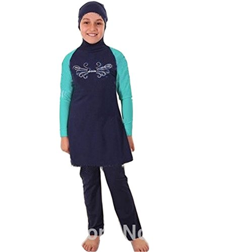 Lazy Cat Two Pieces Muslim swimwear For Kids Islamic Swimsuit for Little Girl (3XL, -