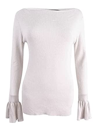 Ralph Lauren Lauren Womens Boatneck Slim Fit Pullover Sweater Ivory L