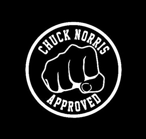 NI238 Chuck Norris Approved Fist Funny lol | Premium Quality White VINYL Decal | 5.75"