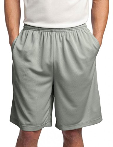 Sport-Tek Men's Side Pockets Performance Short, Silver, X-Large