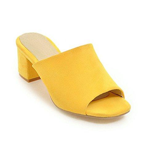 Btrada Women's Summer Crude Heeled Slide Sandals Open Toe Slip On Outdoor Casual Dress Shoes Wedge Yellow