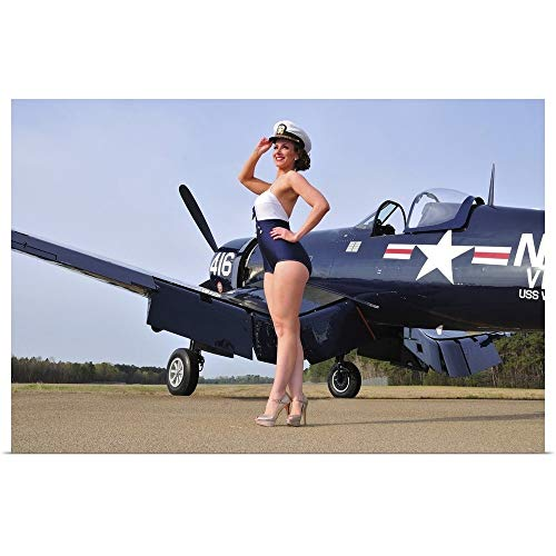 GREATBIGCANVAS Poster Print Entitled 1940's Style Navy pin-up Girl Posing with a Vintage Corsair Aircraft by Christian Kieffer 18