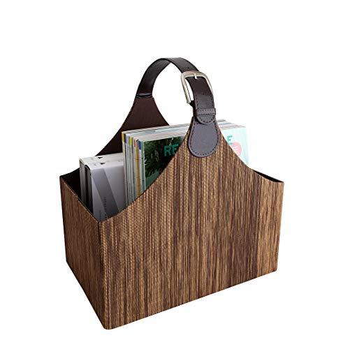 Blu Monaco - Quality Magazine Basket Holder Bin Rack & Storage Handle - Brown Lined Pattern