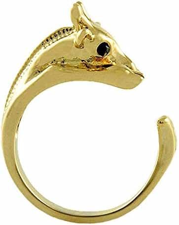 Enhanced Giraffe Animal Wrap Ring Gold-plated Shiny Gold Tone