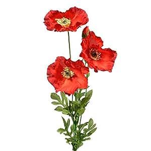 Amazon bunch of 4 artificial silk red poppy stems home kitchen flowers artificial plants greenery mightylinksfo