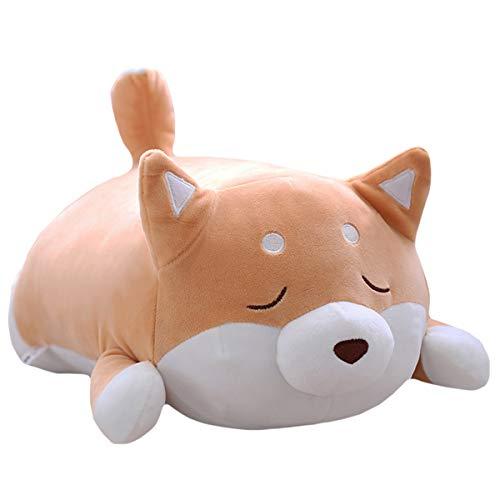 (Shiba Inu Dog Plush Pillow, Cute Soft Corgi Stuffed Animals Doll Toys Gifts for Valentine, Christmas, Birthday, Bed, Sofa Chair (Brown Smiling Eye, 21.3in))