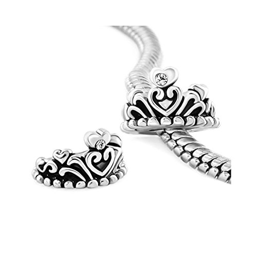 Love Crown Girls' Charms Clear White Crystal Heart Princess Crown Jewelry Beads Fit Pandora Charm Bracelets