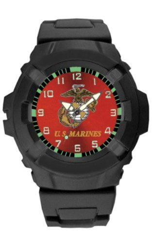 Aqua Force USMC Logo 47mm Diameter Quartz Watch Black with Red Face