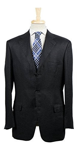 brioni Via Veneto Black Linen 3/2 Button Sport Coat Size 50/40 R (Brioni Linen Suit)