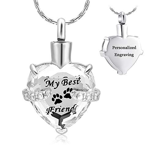 constantlife Cremation Jewelry for Ashes, Heart Shape Memorial Urn Necklace Stainless Steel Crystal Glass Pendant Ashes Holder Keepsake for Women (Clear and Black)