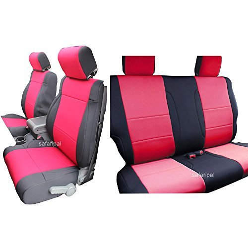 INNOCESSORIES Jeep Wrangler Neoprene Seat Covers Combo Set fit for 2011-2014 Jeep Wrangler Jk 2 Door Seat-Mounted Side Airbag Compitable Red/Black