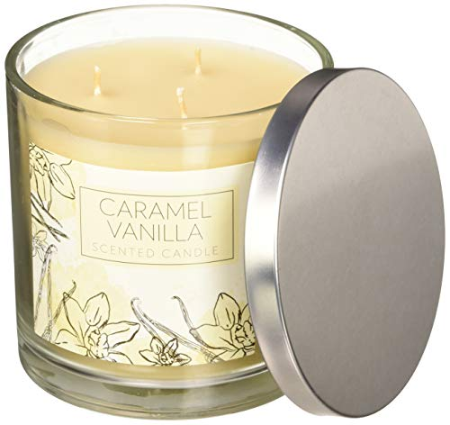 Home Traditions 3-Wick Evenly Highly Scented 4x4 Large Jar Candle with 40+ Hour Burn Time (14.5 Oz), Caramel Vanilla