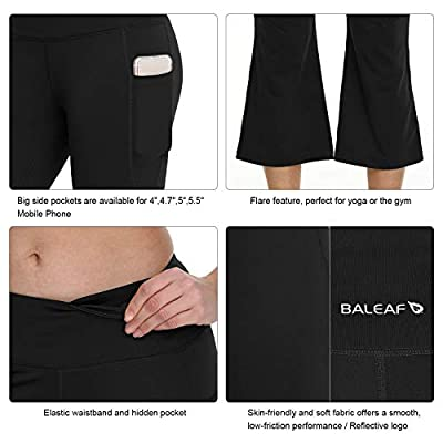 "Amazon.com : BALEAF Women's 21""/23""/25"" Yoga Capri Pants Flare Workout Bootleg Leggings Bootcut Crop Side Pockets : Clothing"