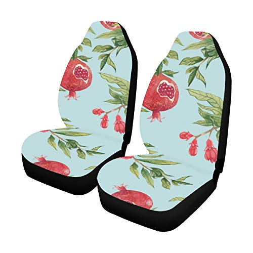 Glorious Pomegranate Flower Blood Red Custom New Universal Fit Auto Drive Car Seat Covers Protector for Women Automobile Jeep Truck SUV Vehicle Full Set Accessories for Adult Baby (Set of 2 Front)