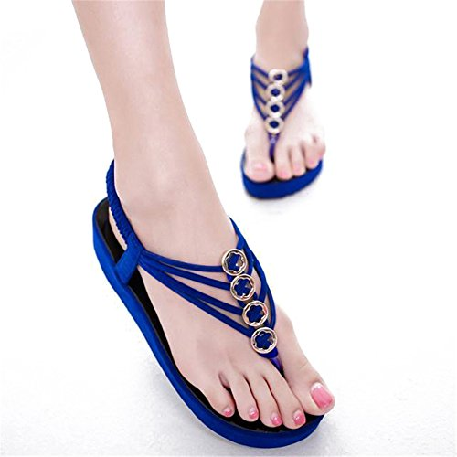 Fortuning's JDS Elegante flip plataforma de moda sandalias de los fracasos de verano para las mujeres Azul