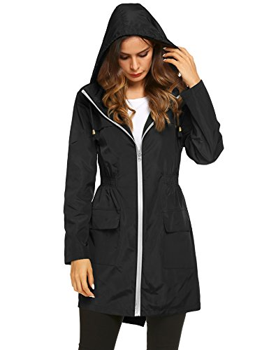 (LOMON Womens Lightweight Hooded Raincoat Waterproof Packable Active Outdoor Rain Jacket Black)