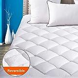 "SOPAT Queen Mattress Pad Pillow Top Plush Mattress Topper Reversible Quilted Fitted Mattress Cover with 8-21""Deep Pocket"