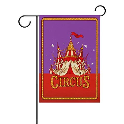Afagahahs Double Sided Retro Circus Tent Carnival Day Polyester House Garden Flag Banner 16 x 30 Inch for Family Garden Decor
