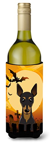 Caroline's Treasures Halloween Min Pin Wine Bottle Koozie Hugger, 750 ml, Multicolor