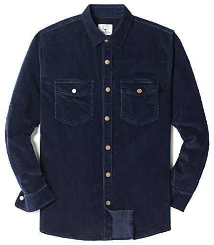 MOCOTONO Mens Cotton Stretch Corduroy Shirt Long Sleeve Casual Button Down Jackets Navy Blue Medium