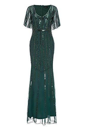 Metme Women's 1920s Retro Open Fork Sleeve Fishtail Hem Sequined Beaded Long Gatsby Prom Dress