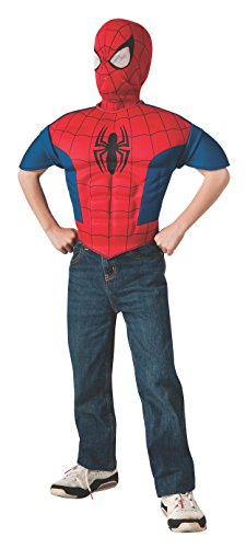 Ultimate Spiderman Muscle Kids Costumes (Rubie's Marvel, Ultimate Spider-Man EVA Child Muscle Chest Shirt and Mask)