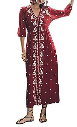 R.Vivimos Women's Floral Cotton Long Dresses Medium Wine Red