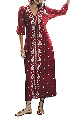 - R.Vivimos Womens Boho Floral Embroidered Casual Drawstring Tie Cotton Long Dresses Large Wine Red