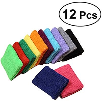 NUOBESTY 12pcs Colorful Wristbands Cotton Terry Cloth Wrist Sweatbands Wrist Protector for Gym Sports Basketball Estimated Price -