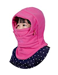 Girls Windproof Hat UV Protection Breathable Warm Double-Layer Fleece Windproof Sport Cap Rose