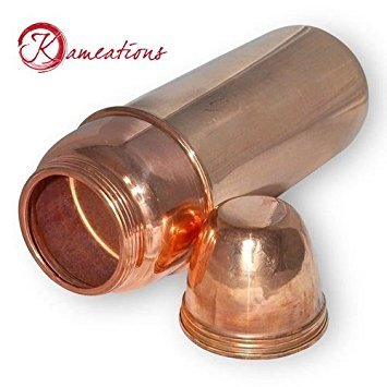 Kameations TravellerS Pure Copper Water Bottle With Cup For Ayurvedic Health Benefits