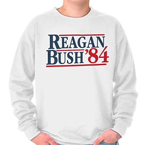 Brisco Brands Ronald Reagan George Bush 84 Election POTUS Crewneck Sweatshirt - George Bush Usa Flag