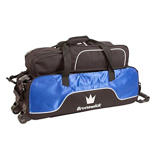 Brunswick Crown Triple Tote with Shoe Pouch Bowling Bag, Royal by Brunswick